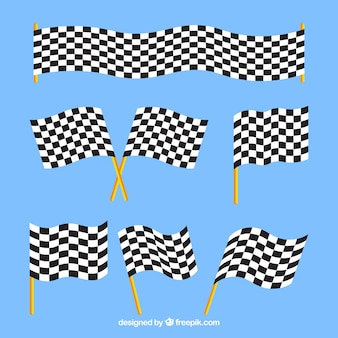 Checkered flags with flat design