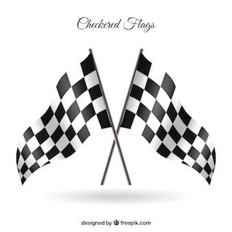 Checkered flags with realistic style