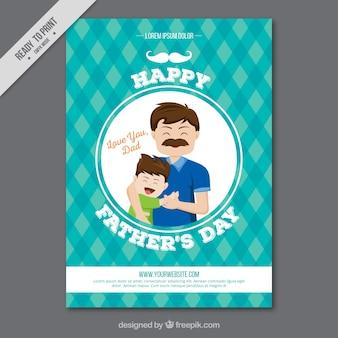 그의 아들과 함께 아버지의 체크 무늬 인사말 카드