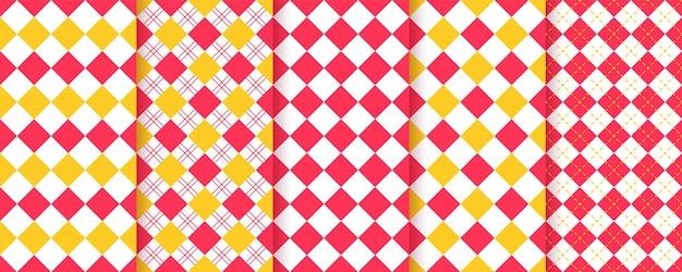 체크 무늬 마름모꼴 완벽 한 패턴입니다. 아가일 다이아몬드 배경. 대각선 격자 무늬 텍스처