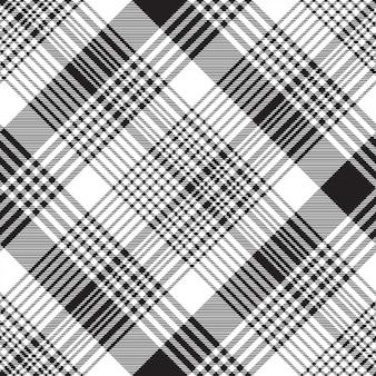 Checkered plaid black white seamless pattern
