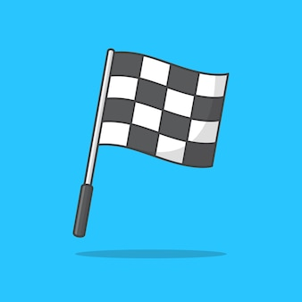チェッカーレース旗のイラスト。開始フラグと終了フラグ。レース旗