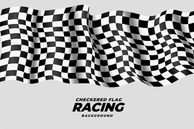 Checkered racing flag waving background