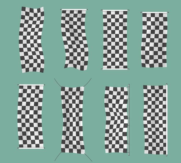체크 무늬 경주 흔들며 배너 물결 모양의 흑백 플래그 배경 체크 무늬 깃발 벡터