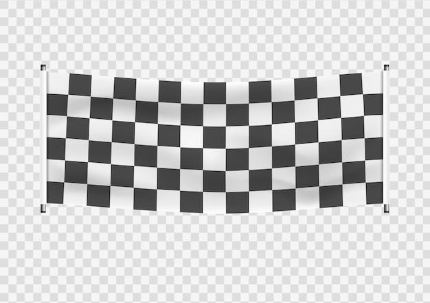 Клетчатый гоночный размахивая баннерами волнистые черно-белые флаги фон клетчатый флаг вектор