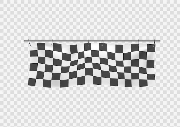 市松模様のレーシング手を振るバナー波状の黒と白の旗背景市松模様の旗ベクトル