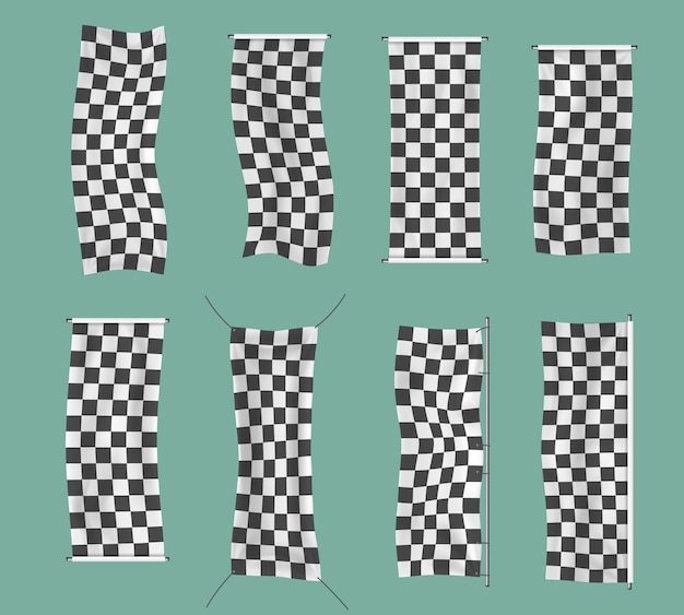 Checkered racing waving banners wavy black and white flags background checkered flag vector
