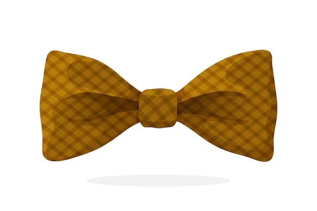 Клетчатый ретро галстук-бабочка коричневого цвета векторные иллюстрации в мультяшном стиле