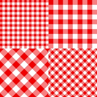 Checkered seamless pattern for plaid, tablecloth, packaging and picnic. set red classic pattern. striped texture. traditional gingham fabric style.