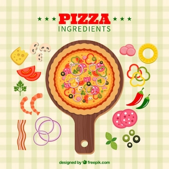 Checkered tablecloth background with ingredients and delicious pizza