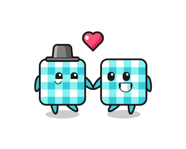 Checkered tablecloth cartoon character couple with fall in love gesture , cute style design for t shirt, sticker, logo element
