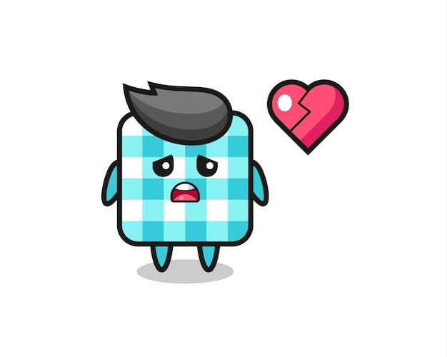 Checkered tablecloth cartoon illustration is broken heart , cute style design for t shirt, sticker, logo element