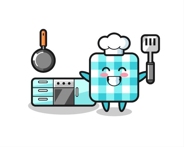 요리사가 요리하는 체크무늬 식탁보 캐릭터 일러스트레이션, 티셔츠, 스티커, 로고 요소를 위한 귀여운 스타일 디자인