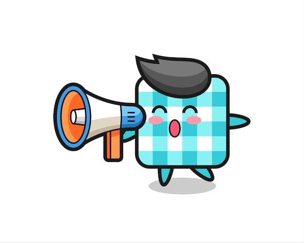 Checkered tablecloth character illustration holding a megaphone , cute style design for t shirt, sticker, logo element