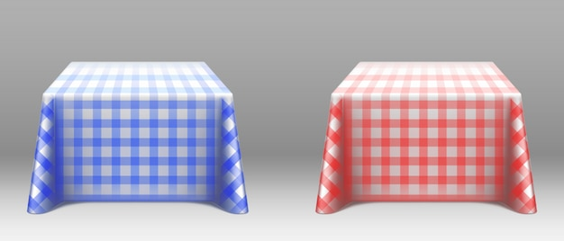 Checkered tablecloths on square tables mockup