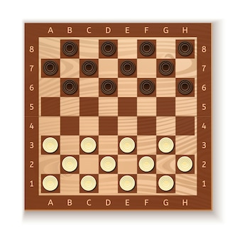 Checkers and chess board. white and black chips placed on the board. ancient intellectual board game. illustration