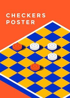 Плакат игры в шашки