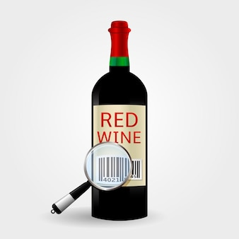 Checking barcode on red wine bottle