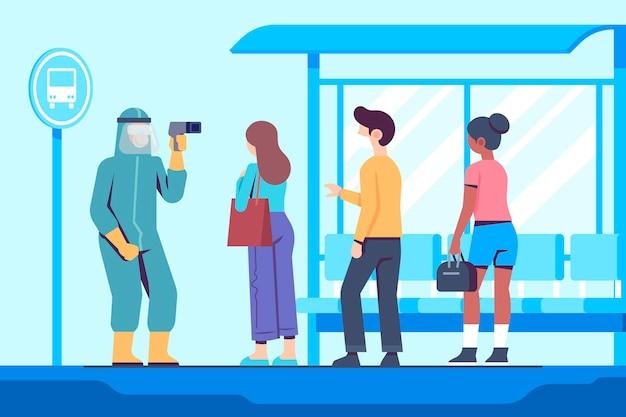 公共エリアのイラストで人の体温を確認するイラスト