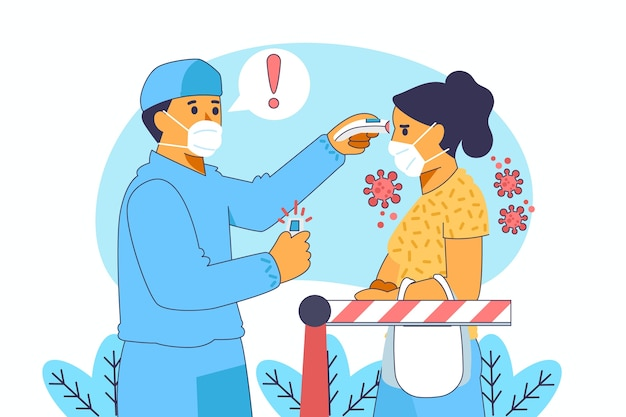 Checking body temperature in public areas illustration
