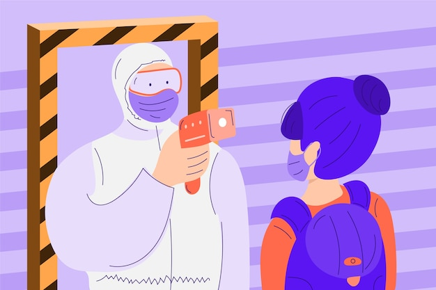 Checking body temperature in public areas