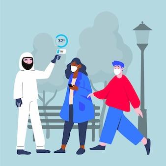 Controllo della temperatura corporea nelle aree pubbliche Vettore gratuito