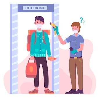 Checking body temperature in public