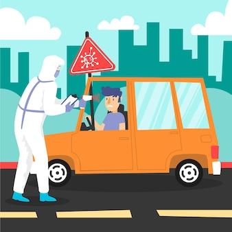 Checking body temperature road-side check