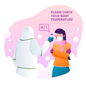 Verifica della temperatura corporea illustrata