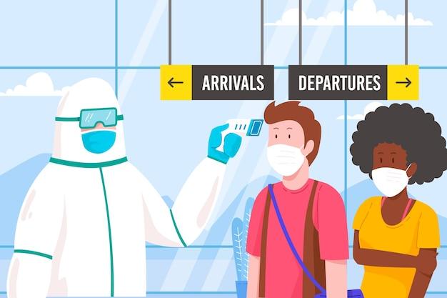 Проверка температуры тела в общественных местах иллюстрации