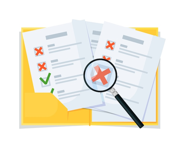 Checklist checkup, analysis and magnifying assessment vector