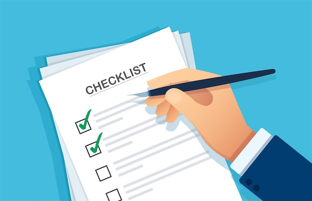 Checklist clipboard hand writing something with a pen on a checklist note paper