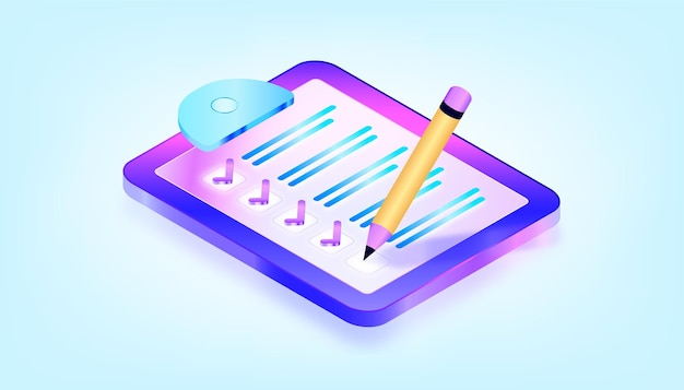 Checklist on a clipboard paper. successful completion of business tasks. 3d gradient isometric illustration