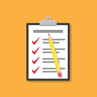 Checklist on clipboard with pencil in a flat design
