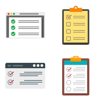 Checklist icons set. flat set of checklist vector icons isolated on white background