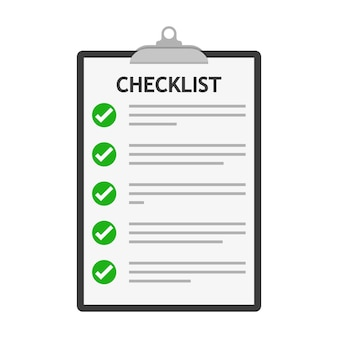 Контрольный список изолирован. контрольный список с буфером обмена в плоском дизайне