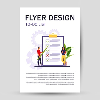 Checklist, to-do list flyer. business idea, planning or coffee break. vector illustration. flat style.