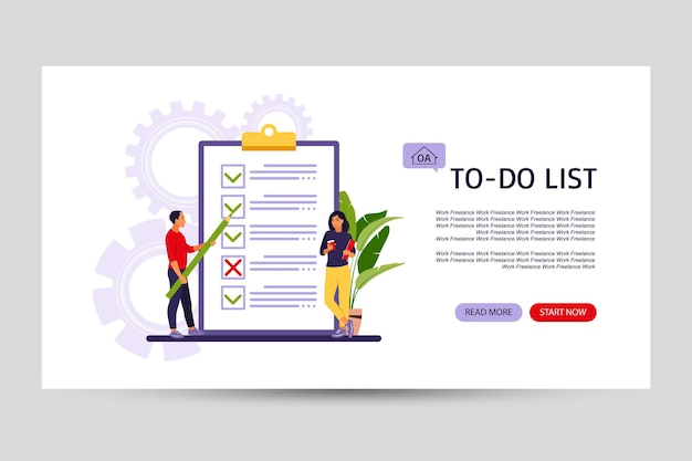 Checklist, to-do list landing page. business idea, planning or coffee break