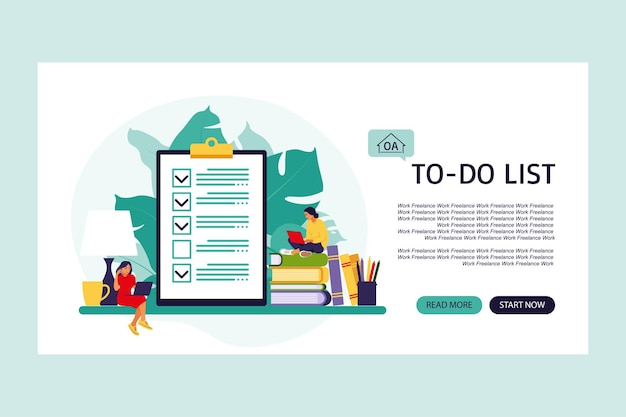 Checklist, to-do list. landing page. list or notepad concept. business idea, planning or coffee break. vector illustration. flat style.