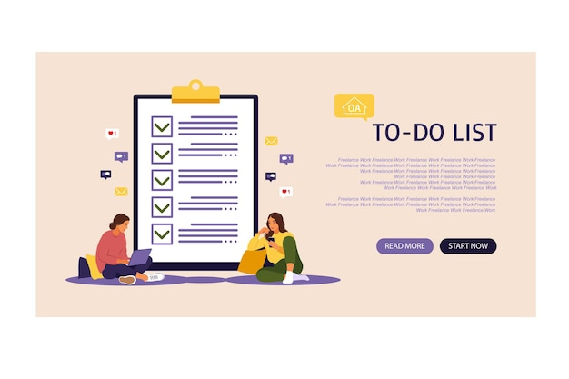 Checklist, to-do list vector illustration. landing page. list or notepad concept. business idea, planning or coffee break. vector illustration. flat style.