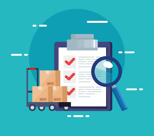 Контрольный список службы доставки и иконки логистики