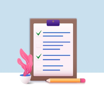비즈니스 작업을 성공적으로 완료 한 클립 보드 용지의 체크리스트