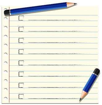 Контрольный список на листе бумаги