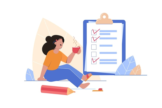 チェックリスト、やることリストのイラスト。リストまたはメモ帳のコンセプト。女の子は事務用品の近くで飲み物を飲む。