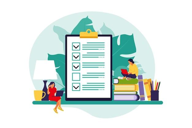 チェックリスト、やることリスト。リストまたはメモ帳の概念。ビジネスのアイデア、計画、またはコーヒーブレイク。
