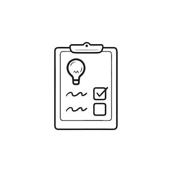 電球の手描きのアウトライン落書きアイコンのチェックリスト。ビジネスアイデア、戦略計画、ワークフローの概念。白い背景の上の印刷、ウェブ、モバイル、インフォグラフィックのベクトルスケッチイラスト。