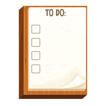 Checklist on a wooden board note paper to do work in cartoon style