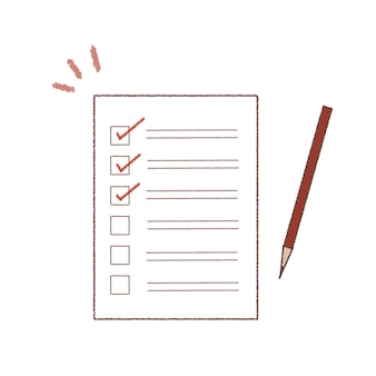Checklists and pens. cute and simple art style. on a white background.