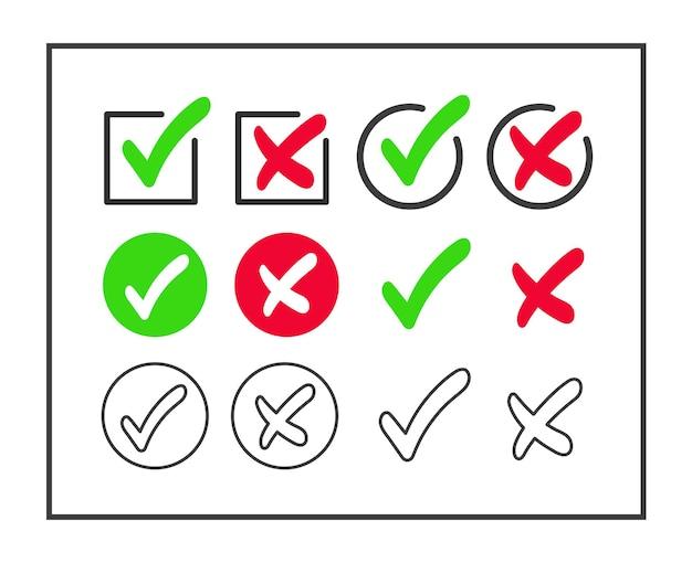 Галочка и крест значок набор изолированы. зеленая галочка и красный крест.