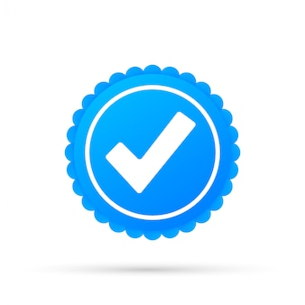 Checkmark. blue approved star sticker isolated